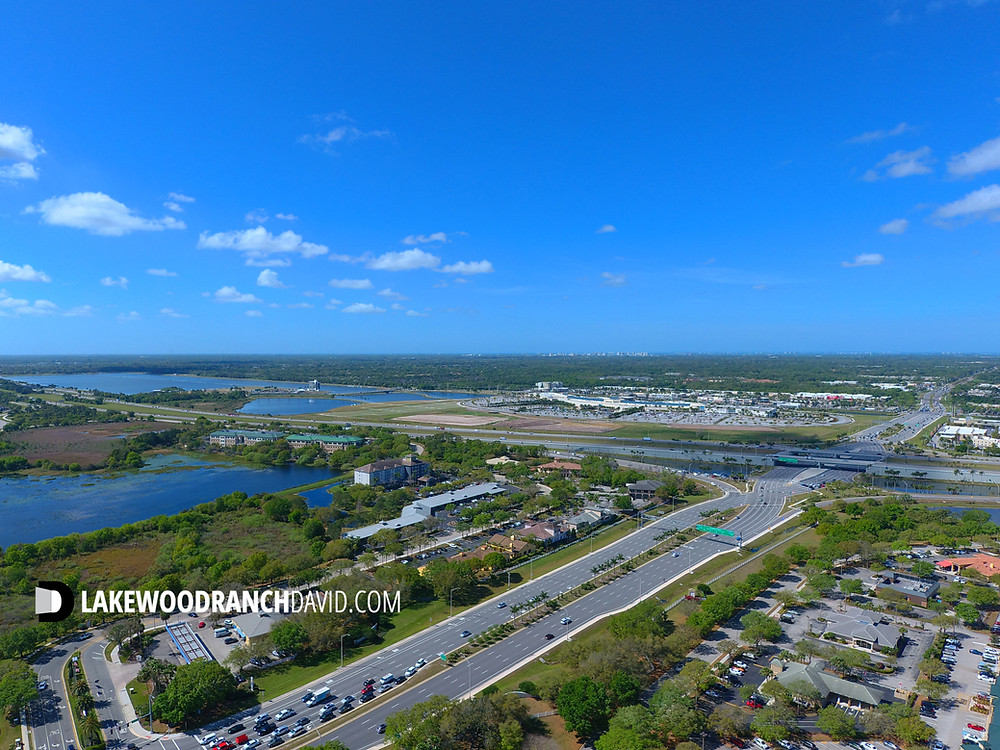 From 400 feet above Lakewood Ranch looking west