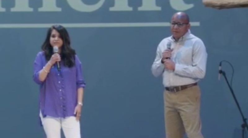 Dr. Ivan and Gaby Horn speaking in Harvest Church
