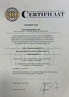 Certificaat EKH ODH Torsit geldig tot 20