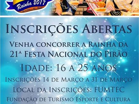 21ª Festa Nacional do Pirão: aberta inscrição para concurso da  nova realeza