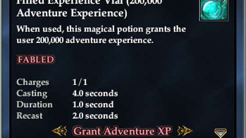 Pack of 5 Experience Vial (200,000 Adventure Experience)