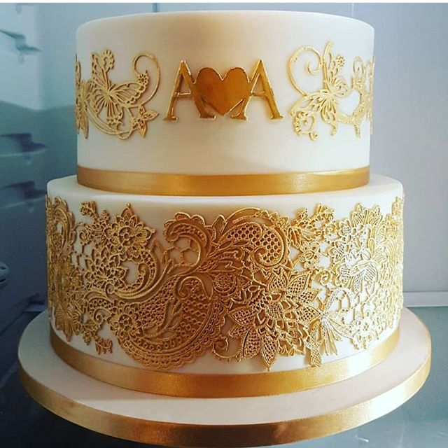 Two Tier Engagement Lace Cake