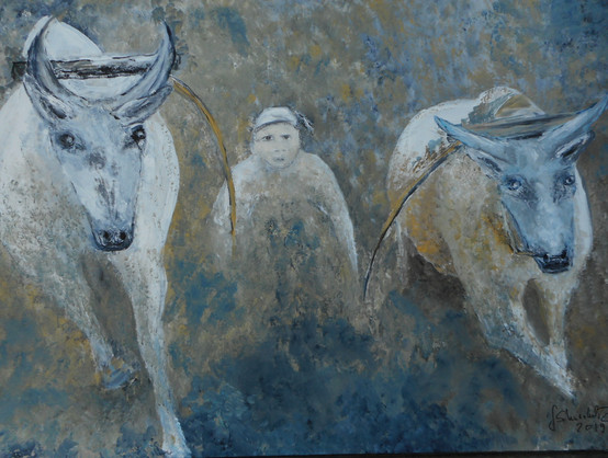 Mudrace, acrylic on canvas 1 x 0.65m