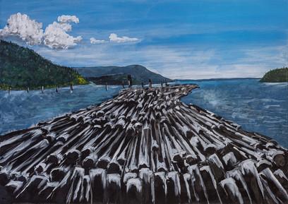 Threatening log booms in Cowichan Bay