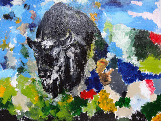 Buffalo on fall meadow