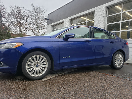 A Ford Fusion Hybrid that came in for automotive repar and diagnostics.