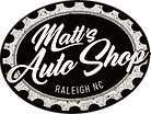 Matt's Auto Shop logo, one of our original deigns in black and white. Represnting an automotive repair facility.