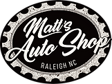 Matt's Auto Shop logo, one of our original deigns in black and white. Represnting an automotive repair facility.