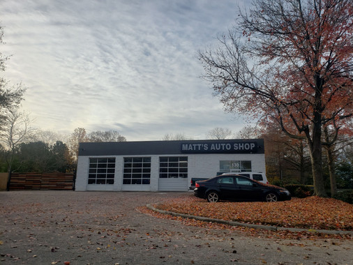 Street view of Matt's Auto Shop on a beautiful fall day in Garner, NC