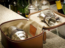 Leather Martini Travel Kit