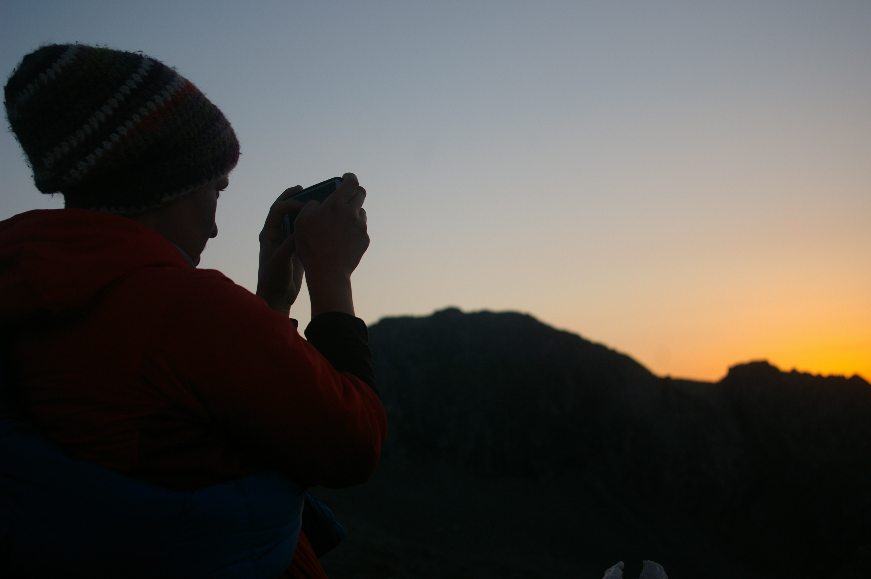 Christl beim Sonnenaufgang
