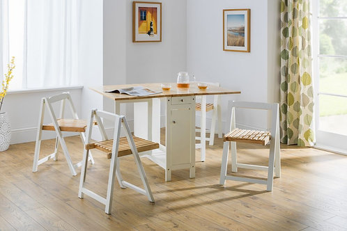 Savoy Dining Set - White / Natural Finish