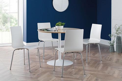 Blanco White/Oak & 4 Mandy White Dining Set
