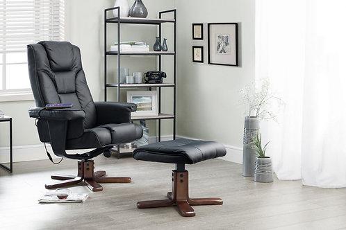 Malmo Massage Recliner & Stool - Black