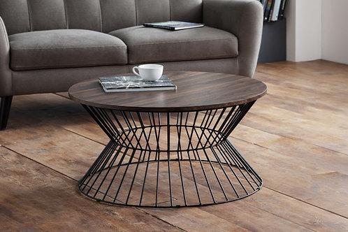 Jersey Round Wire Coffee Table - Walnut