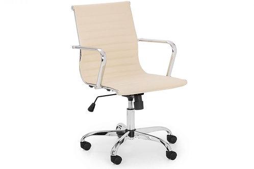 Gio Office Chair - Ivory & Chrome