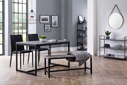 Staten Bench & Jazz Black Dining Set