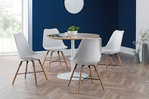Blanco White/Oak & Kari White Dining Set