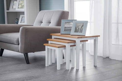 Cleo Nest of Tables - Two Tone White/Oak Finish