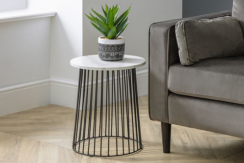 Broadway Round Lamp Table - White Marble