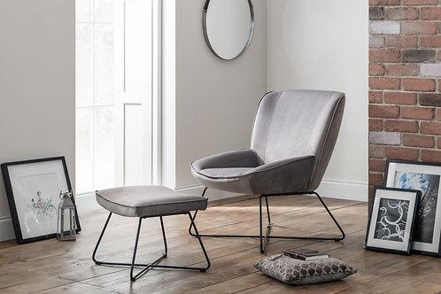 Mila Velvet Accent Chair & Stool - Grey
