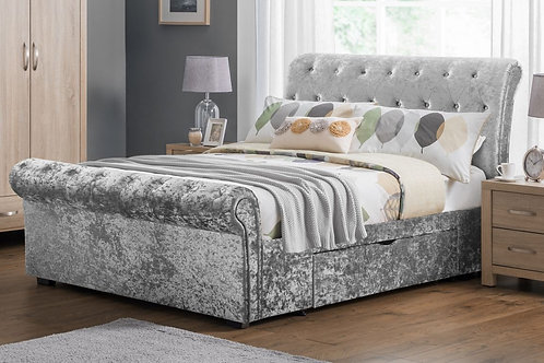 Verona 2 Drawer Storage Bed - Silver - Kingsize