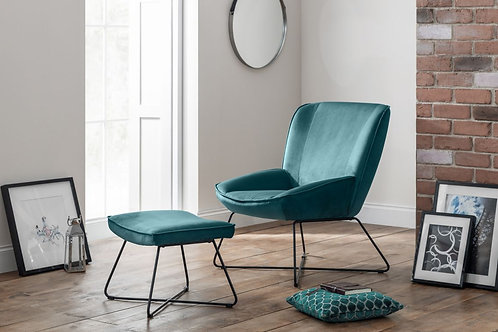Mila Velvet Accent Chair & Stool - Teal