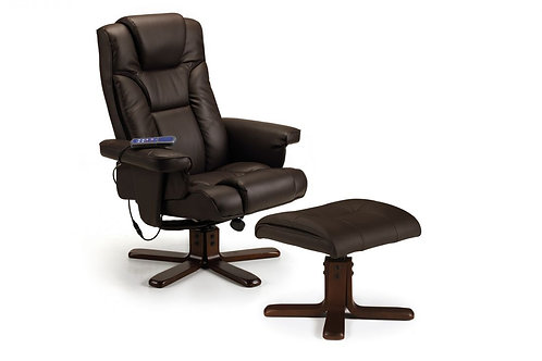 Malmo Massage Recliner & Stool - Brown