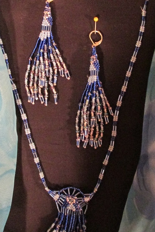 Blue/Pinkish Tones Beaded  Set