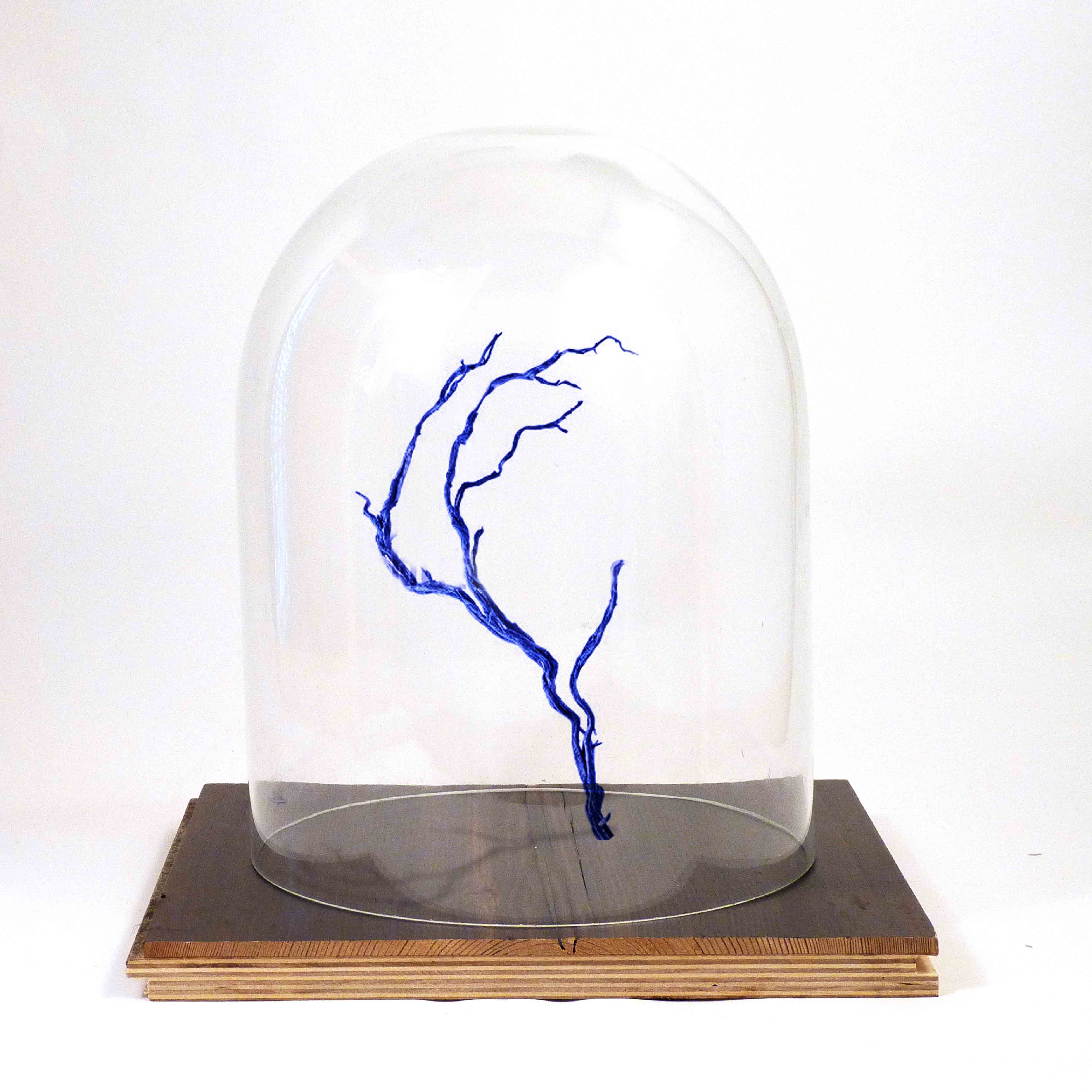 012 BELL JAR WITH BLUE BRANCH