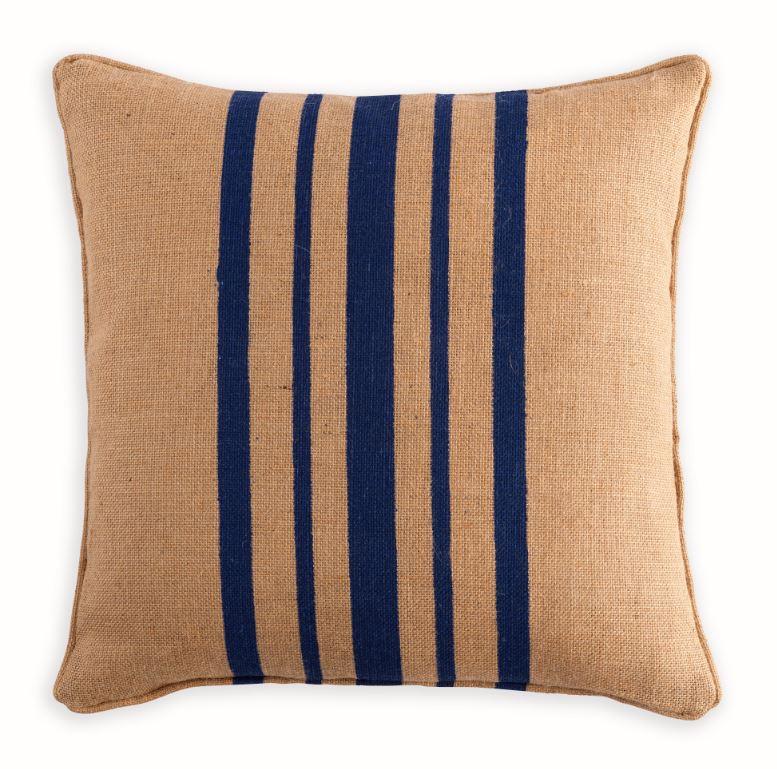 Hessian cushion with blue stripe cushion