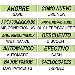 Signo adhesivo español Chartreuse largo de 15 pulgadas