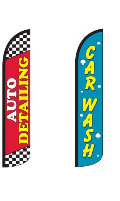 Car Wash & Detailing Wind-Free Feather Flags
