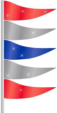 ANTENNA FLAG METALLIC TRIANGULAR FLAGS RED, SILVER & BLUE 12 PACK