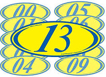 BLUE & YELLOW 2 DIGIT YEAR OVALS