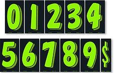 """GREEN & BLACK 7 1/2"""" NUMBERS"""
