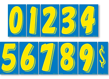 """BLUE & YELLOW 7 1/2"""" NUMBERS"""