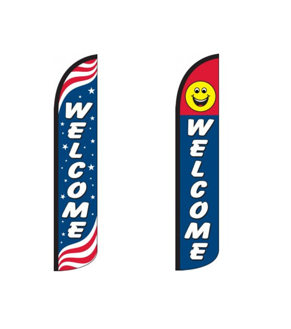 Welcome Wind-Free Feather Flags