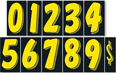 """BLACK & YELLOW 7 1/2"""" NUMBERS"""