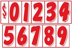 """RED & WHITE 7 1/2"""" NUMBERS"""