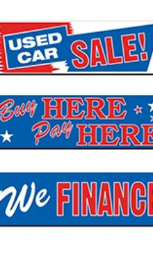 BANNER - RED WHITE AND BLUE - 3' X 10'