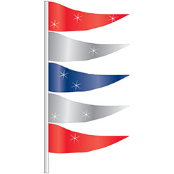 ANTENNA FLAG - METALLIC TRIANGULAR - QTY  12