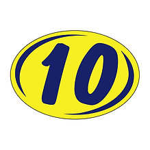 SMALL 2 DIGIT YEAR OVALS - BLUE AND YELLOW