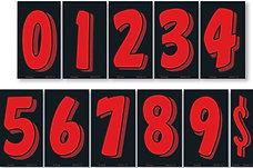 """BLACK & RED 7 1/2"""" NUMBERS"""