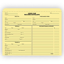 USED CAR RECORD ENVELOPE
