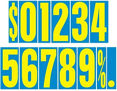 9 1/2 inch Blue & Yellow Adhesive Number