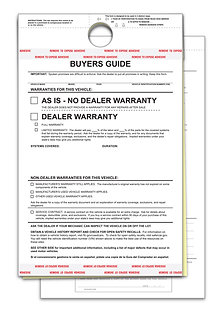 BUYERS GUIDE - BG-2017 - AS IS - 2 PART - HANGING TAG