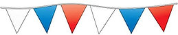 105 Foot RED White and Blue Triangle Pennant Banner