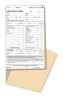 USED VEHICLE ORDER FORM BOOK - 3 PART