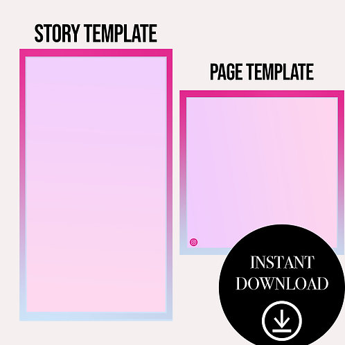 (2)Premade Template(cotton candy)-Instant Download